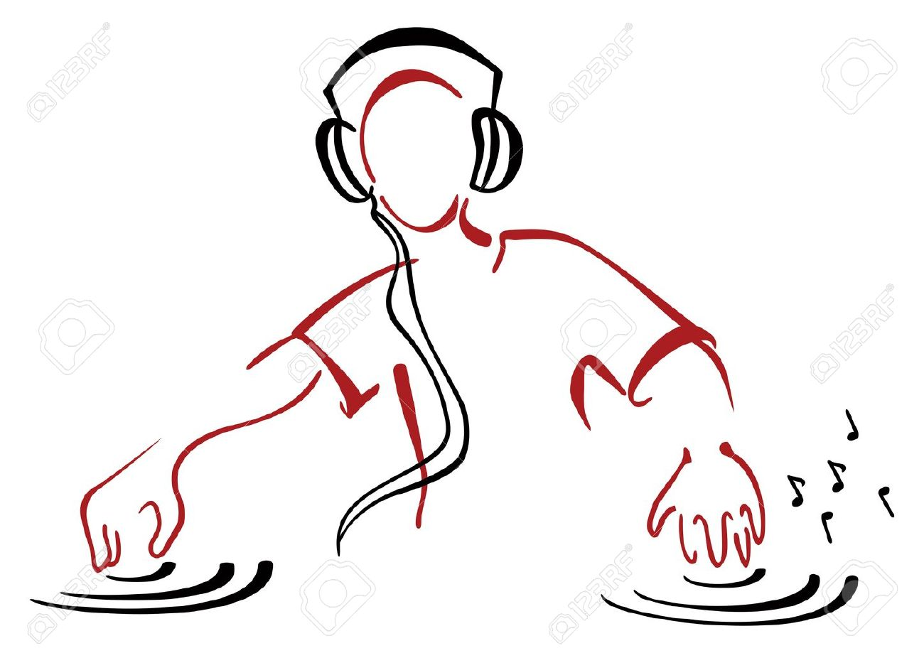 DJ behind console Stock Vector - 20502374