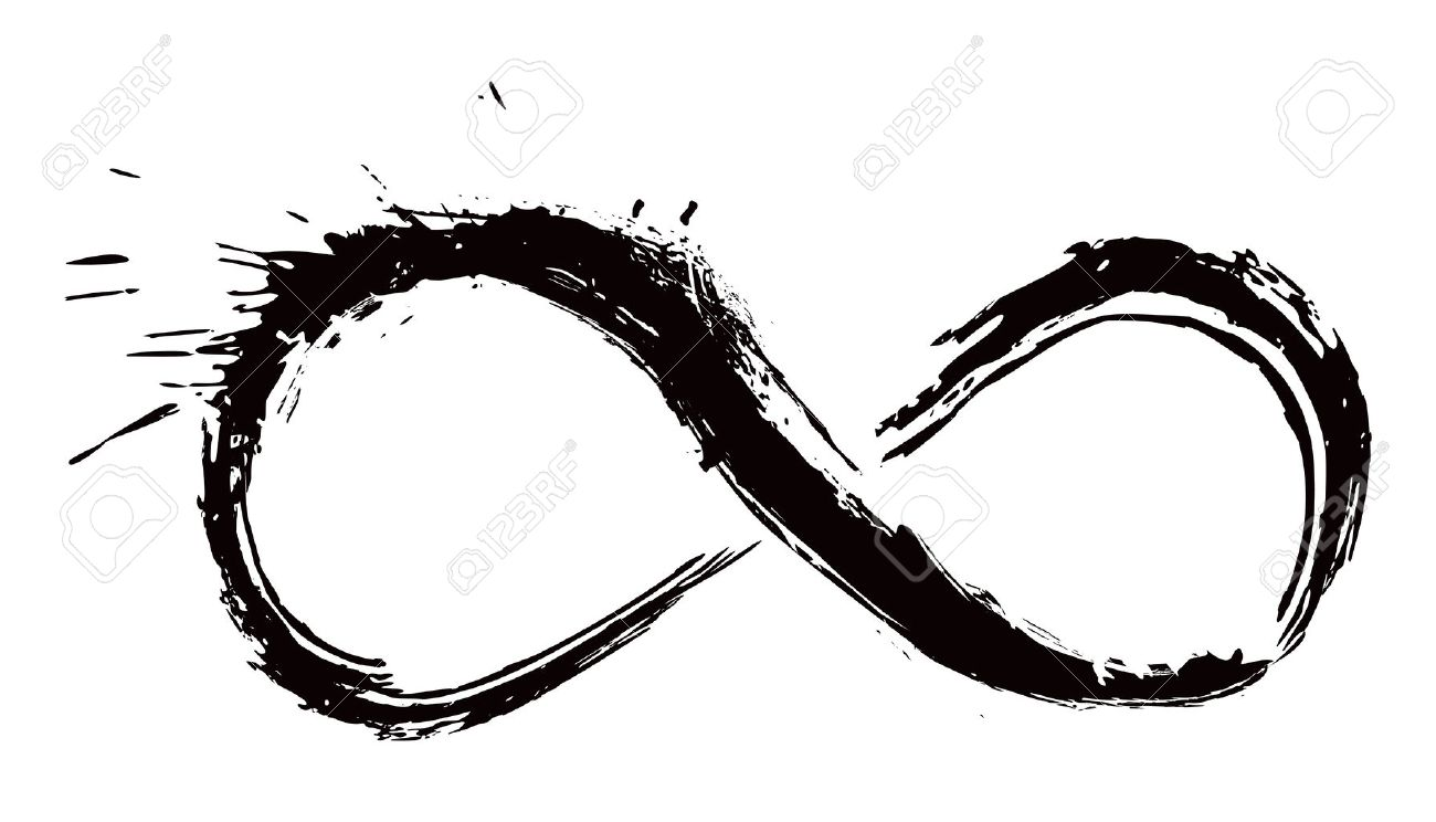 Infinity Symbol Created In Grunge Style Royalty Free Cliparts