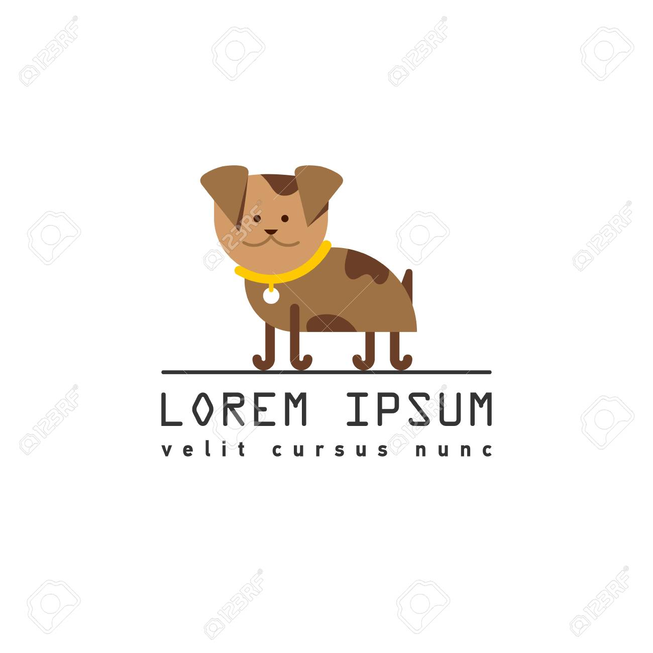 Dog Logo Template Cute Puppy Logotype Royalty Free Cliparts