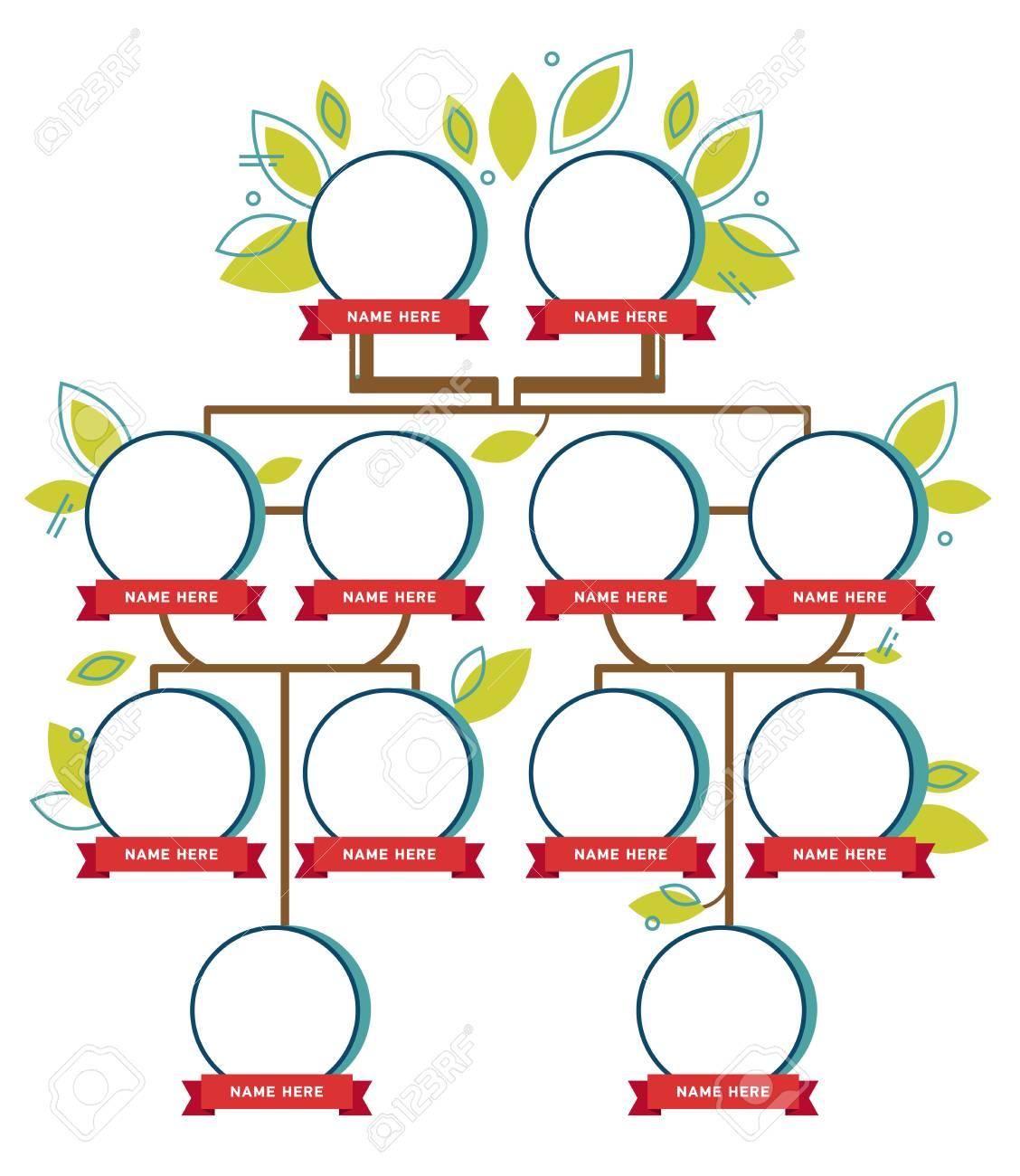Generación De árboles Genealógicos Iconos Vacíos Ilustraciones