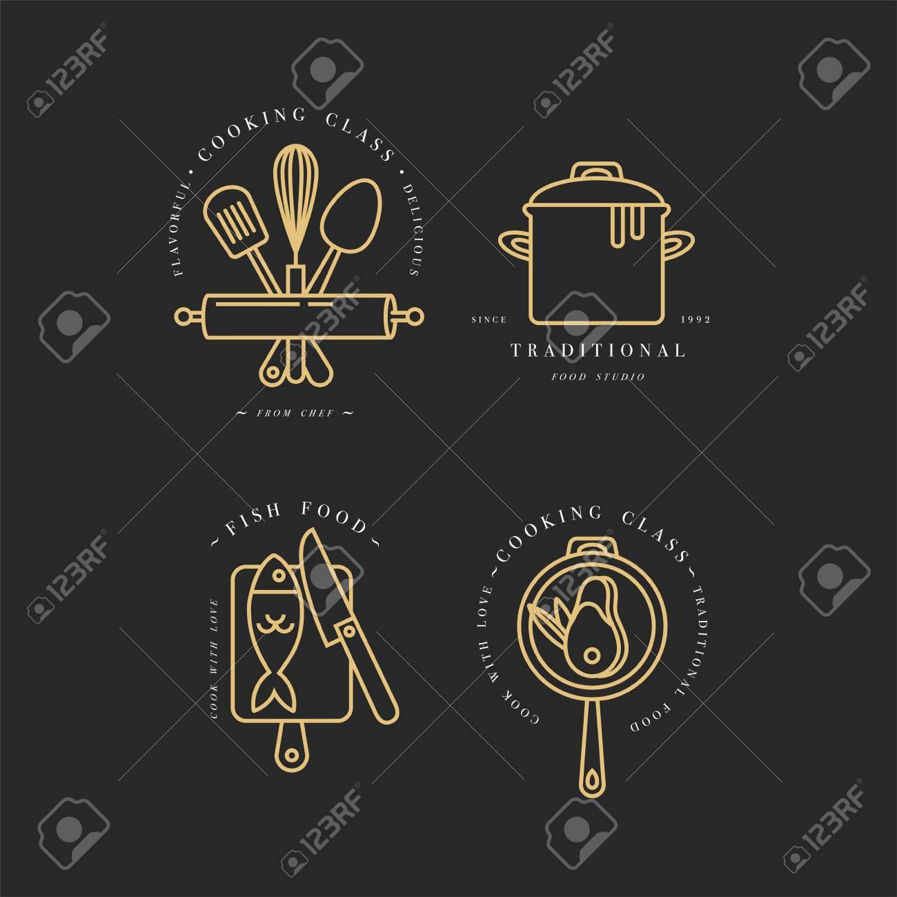 Goldene Lineare Design-Elemente, Satz Von Küche-Embleme, Symbole ...