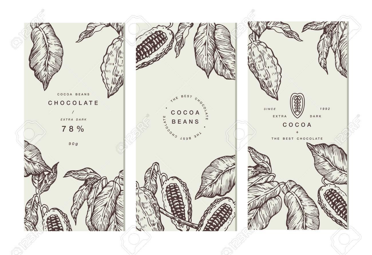 Cocoa Bean Tree Banner Collection Design Templates Engraved - Engraving templates