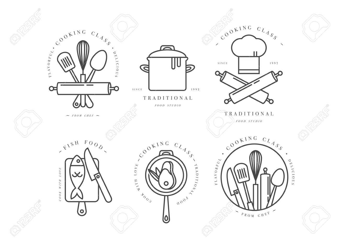 Cooking class linear design elements set of kitchen emblems cooking class linear design elements set of kitchen emblems symbols icons or food ccuart Image collections