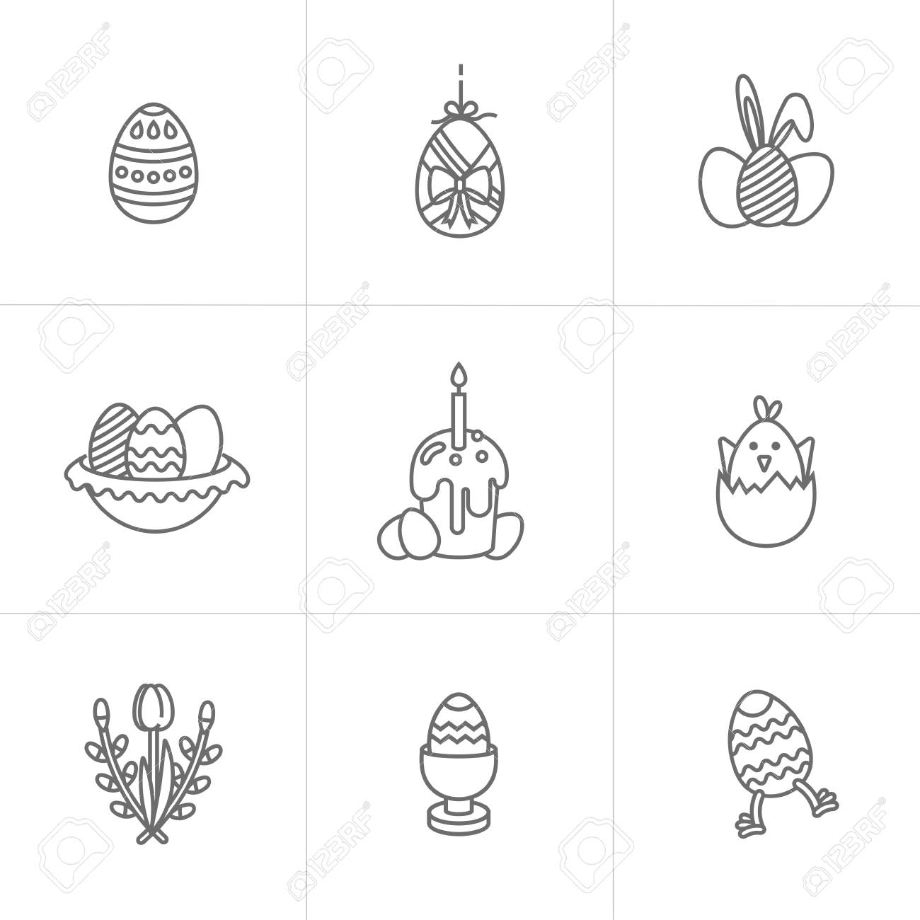 image about Happy Easter Cards Printable identified as Vector linear layout Easter greetings factors. Fastened of icon for..