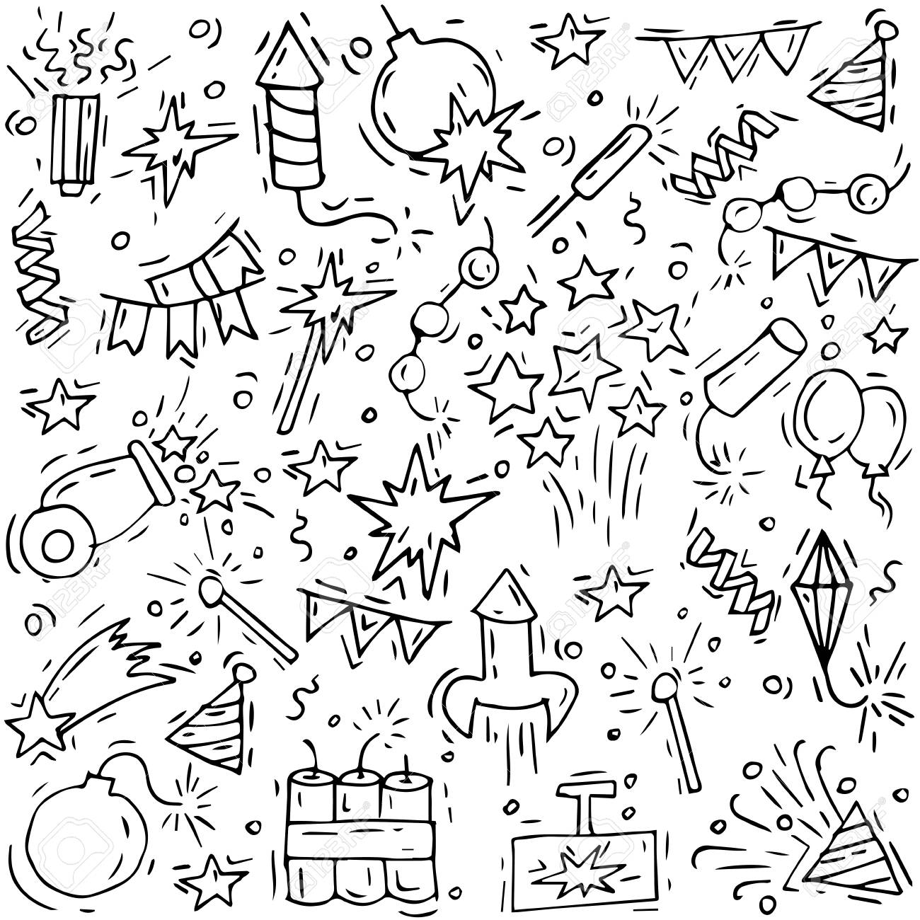 Hand draw firework icon set with petard stars and pyrotechnics