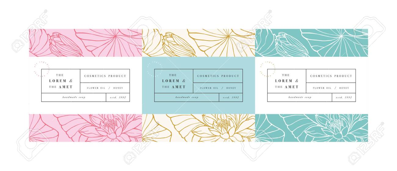 Vector set patterns for cosmetics with label template design. Patterns or wrapping paper for package and beauty salons. Lotus flowers. Organic, natural cosmetic - 132927480