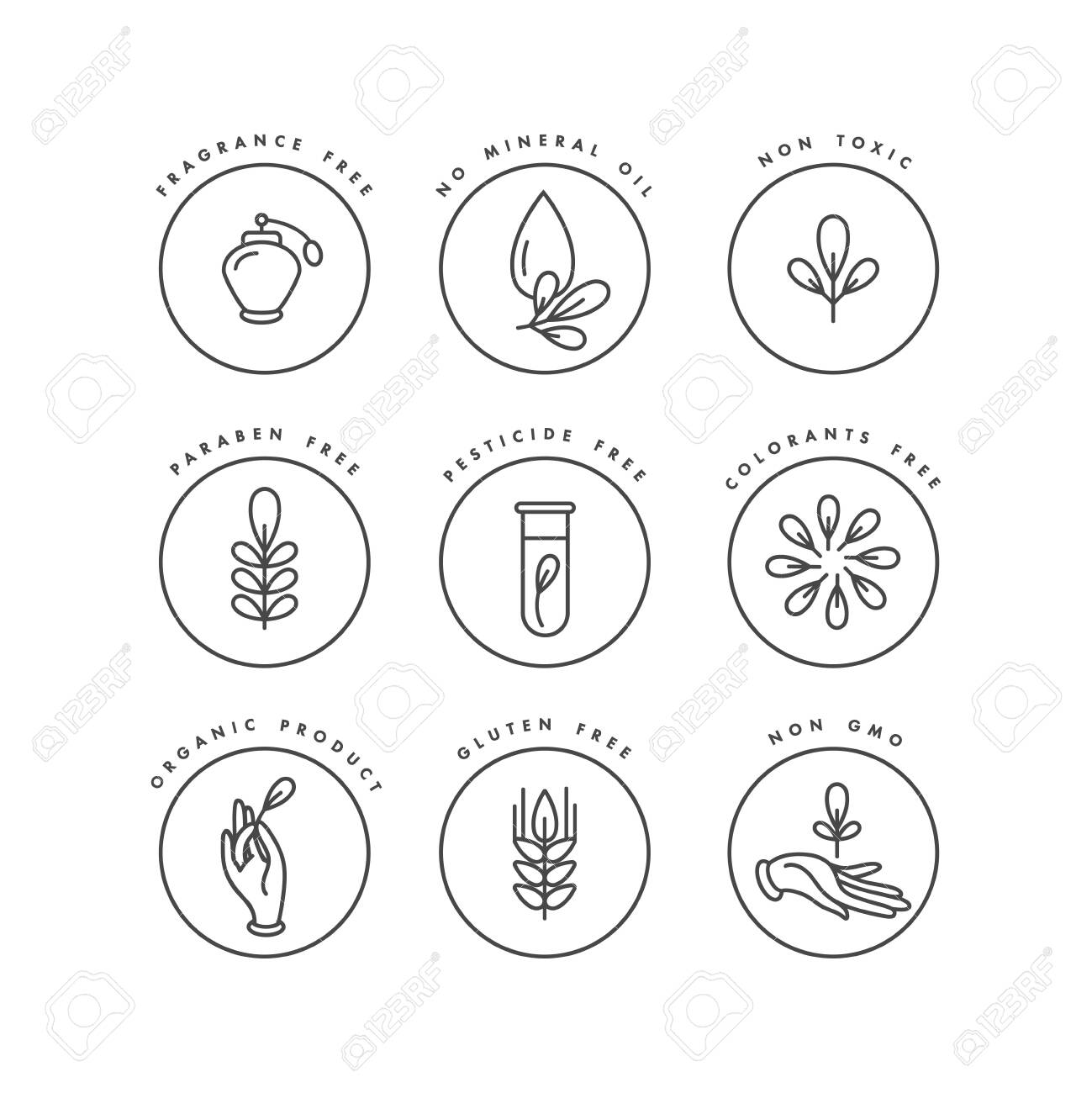 Vector set of badges and icons for natural and organic products. Eco safe sign design. Collection symbol of healthy products - 131125288