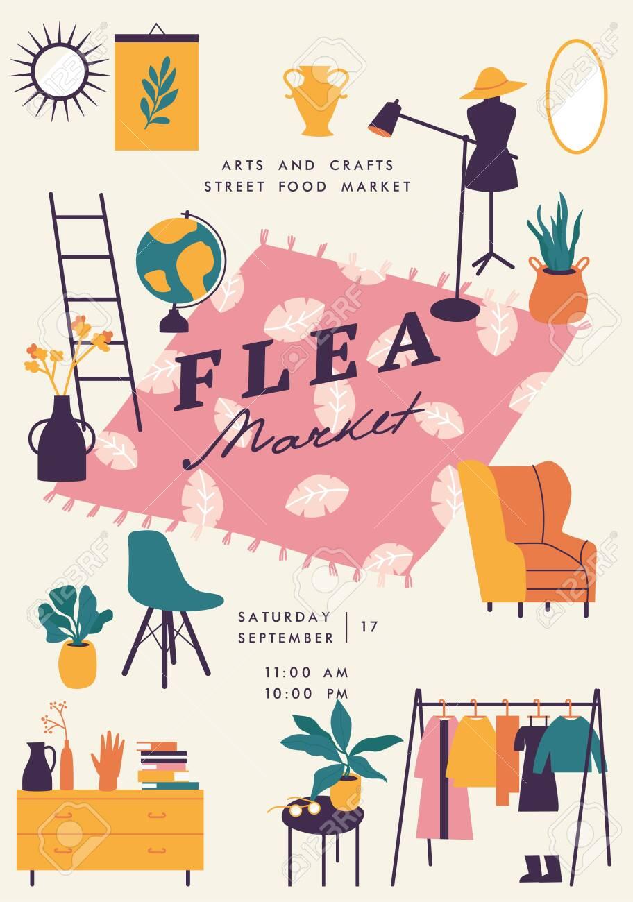 Vector illustration flea market poster with vintage clothes and accessories shop, cartoon flat design. Retail store sale invitation. Rag fair - 135647965