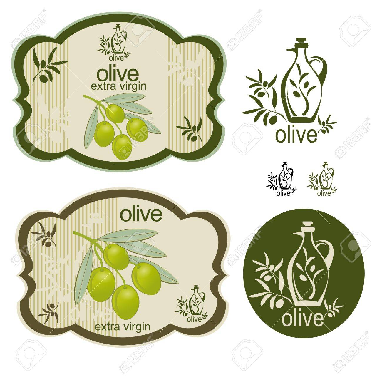 A set off vintage olive products labels and an interesting logo. Stock Vector - 14026644