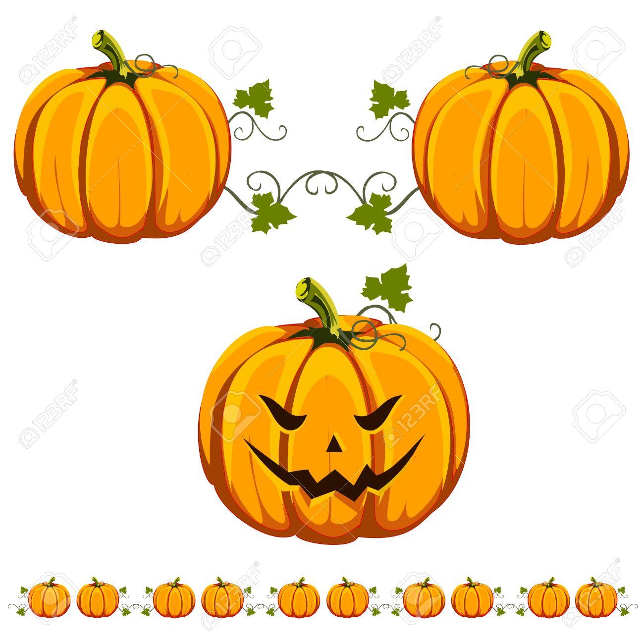 A Cut Halloween Pumpkin, And An Interesting Pumpkin Pattern. Royalty ...