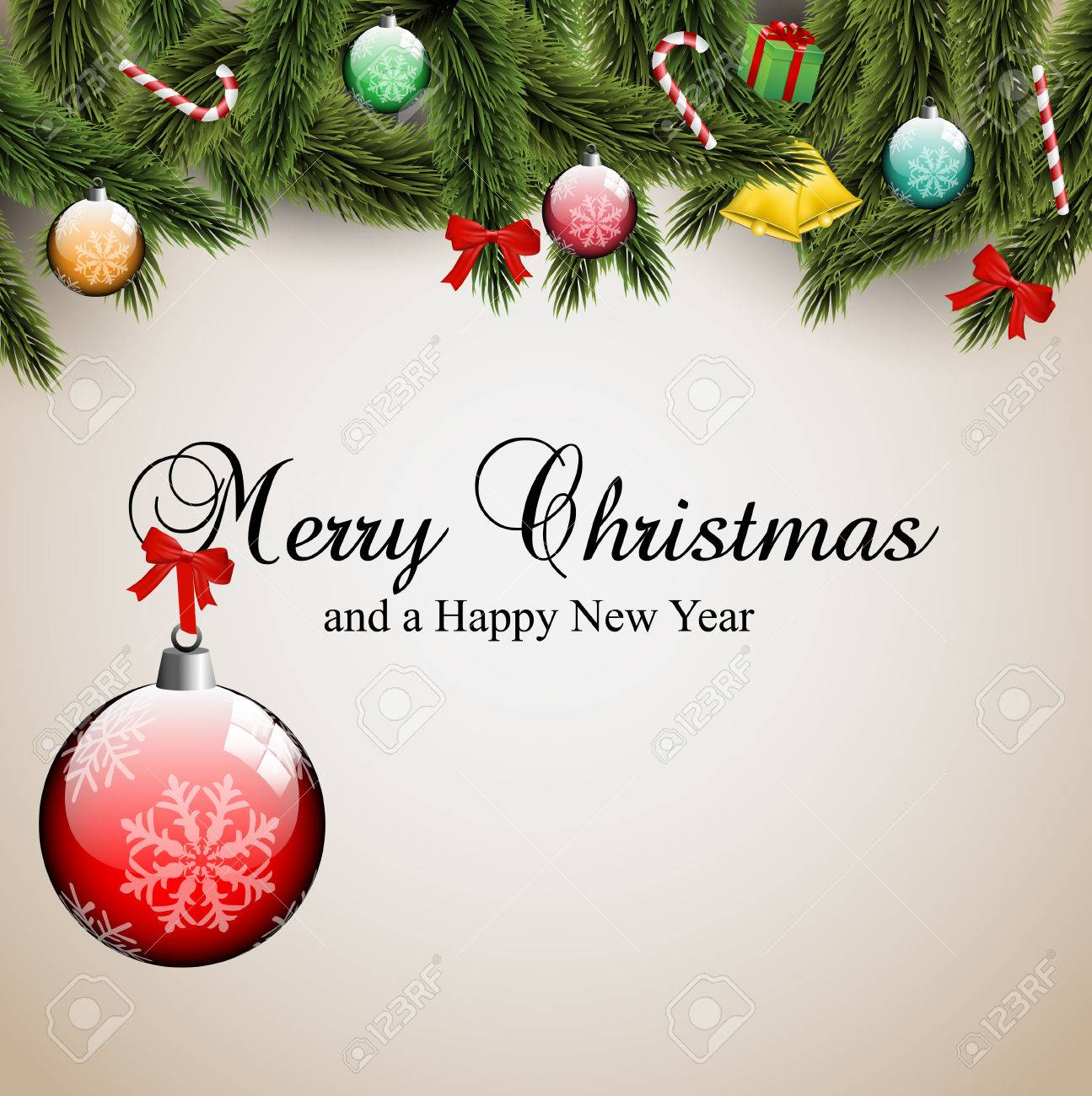 Mery Christmas.Mery Christmas Cad Width Ornamentas And Pine Tree Branches