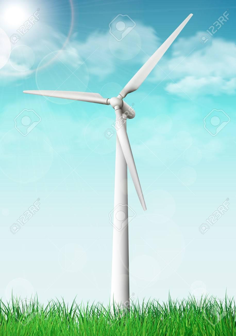 Wind turbine on a grass field sunny day. Vector illustration. - 51852052