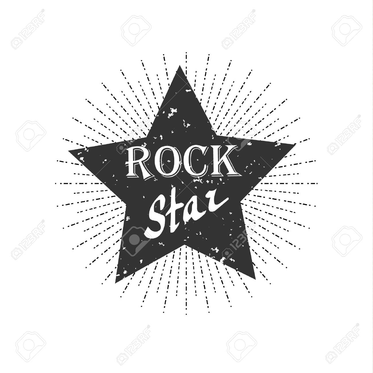 Monochrome Hipster Vintage Label Rock Star Royalty Free Cliparts