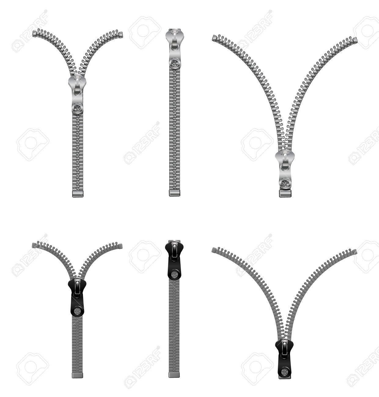 Metal and plastic zippers set . - 84544511
