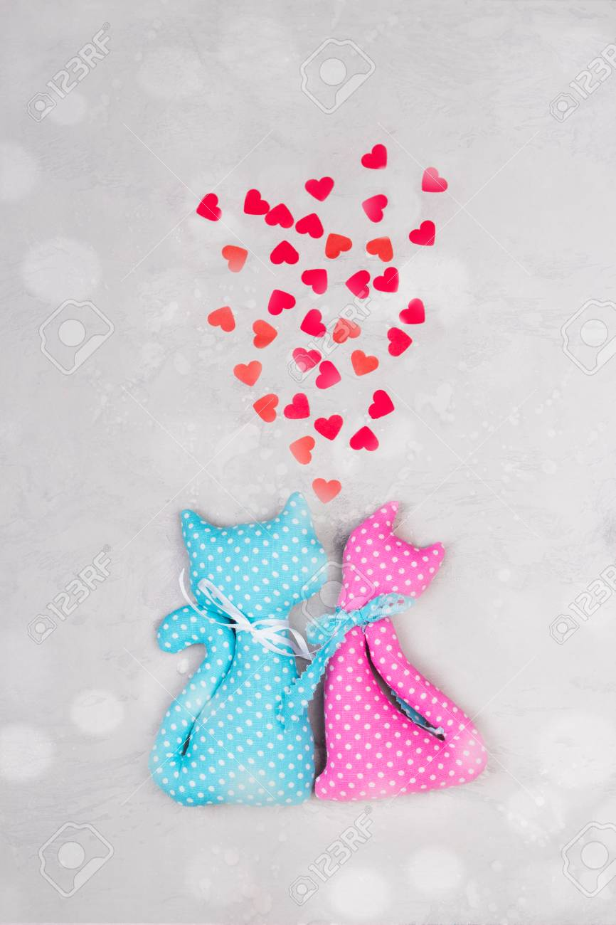 Blue And Pink Fabric Toys Funny Cute Cats With Heart Shape Stock Photo Picture And Royalty Free Image Image 93378074