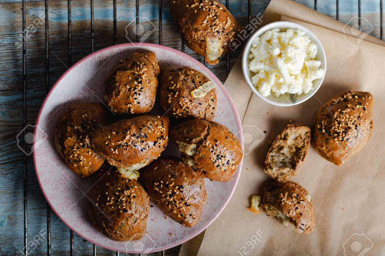 Homemade Pastries with Sesame Seeds. Turkish pogaca (pastry) made with einkorn flour. - 159971748