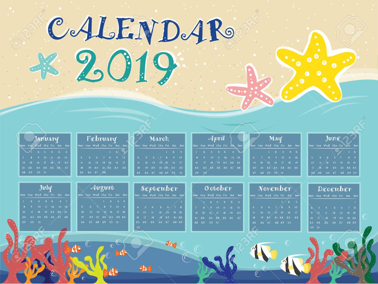2019 Beach Calendar The Relax Beach Calendar For New Year 2019. All Month. Royalty