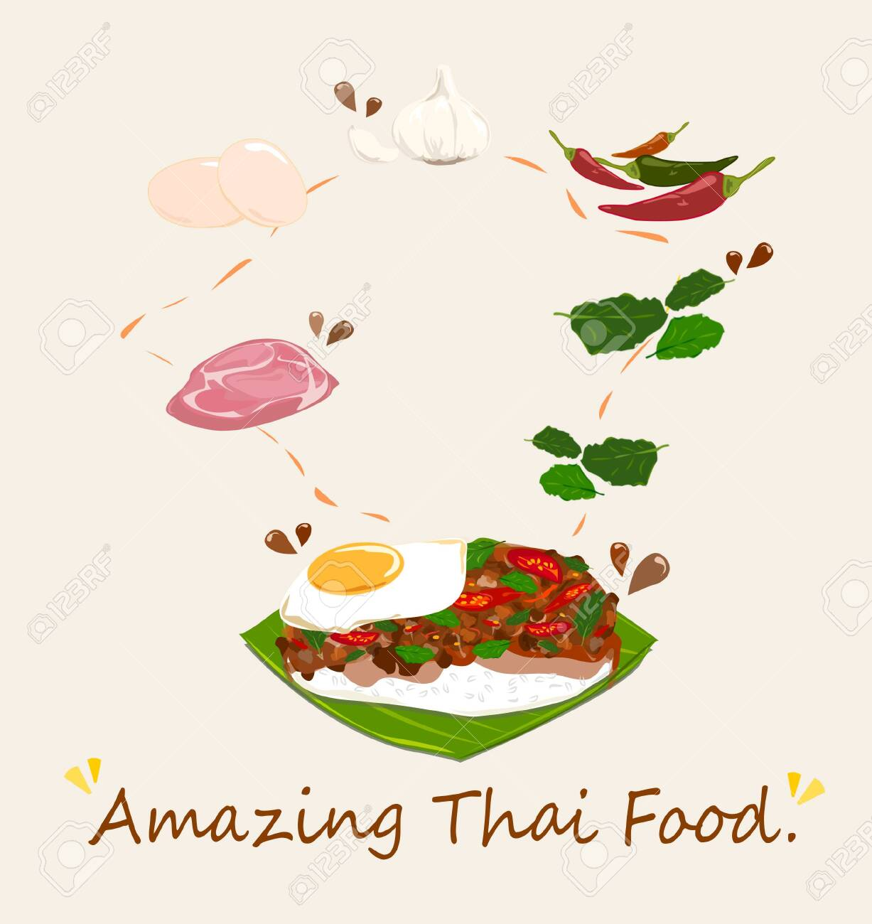 Spicy Thai basil with Pork and Egg (Pad Krapow Mhoo Sub) vector . it is a very delicious Thai food. Rice topped with stir-fried pork and basil leaves . street food in Thailand. - 128699077