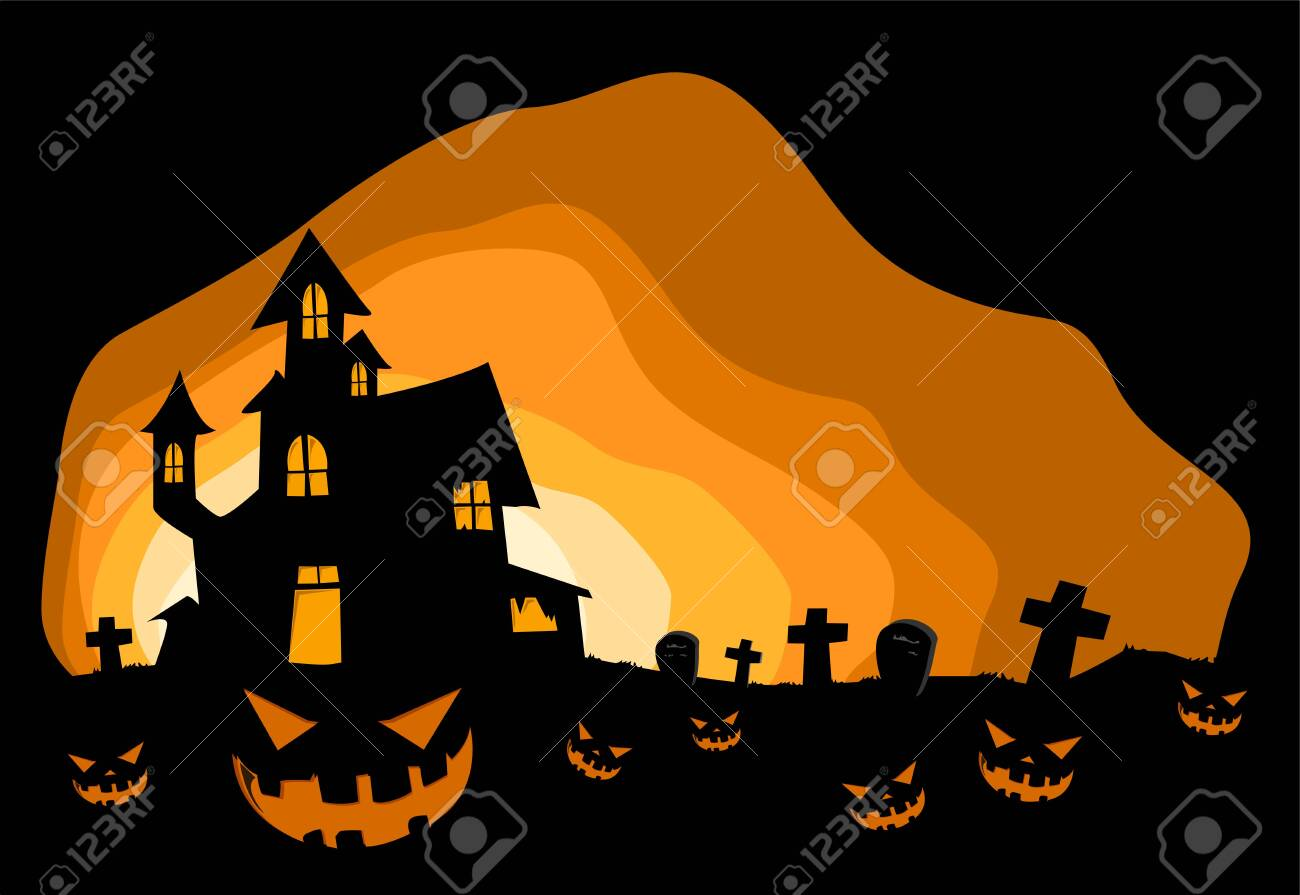 Halloween Background With Haunted House Invitation Card On Celebration