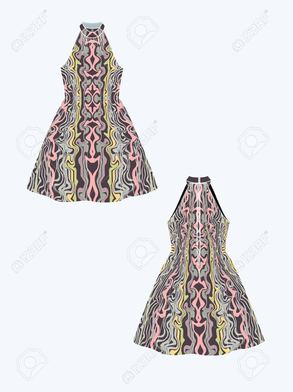 Customizable Fashion Design Template Mockup For Showcasing Fabric Royalty Free Cliparts Vectors And Stock Illustration Image 123917849