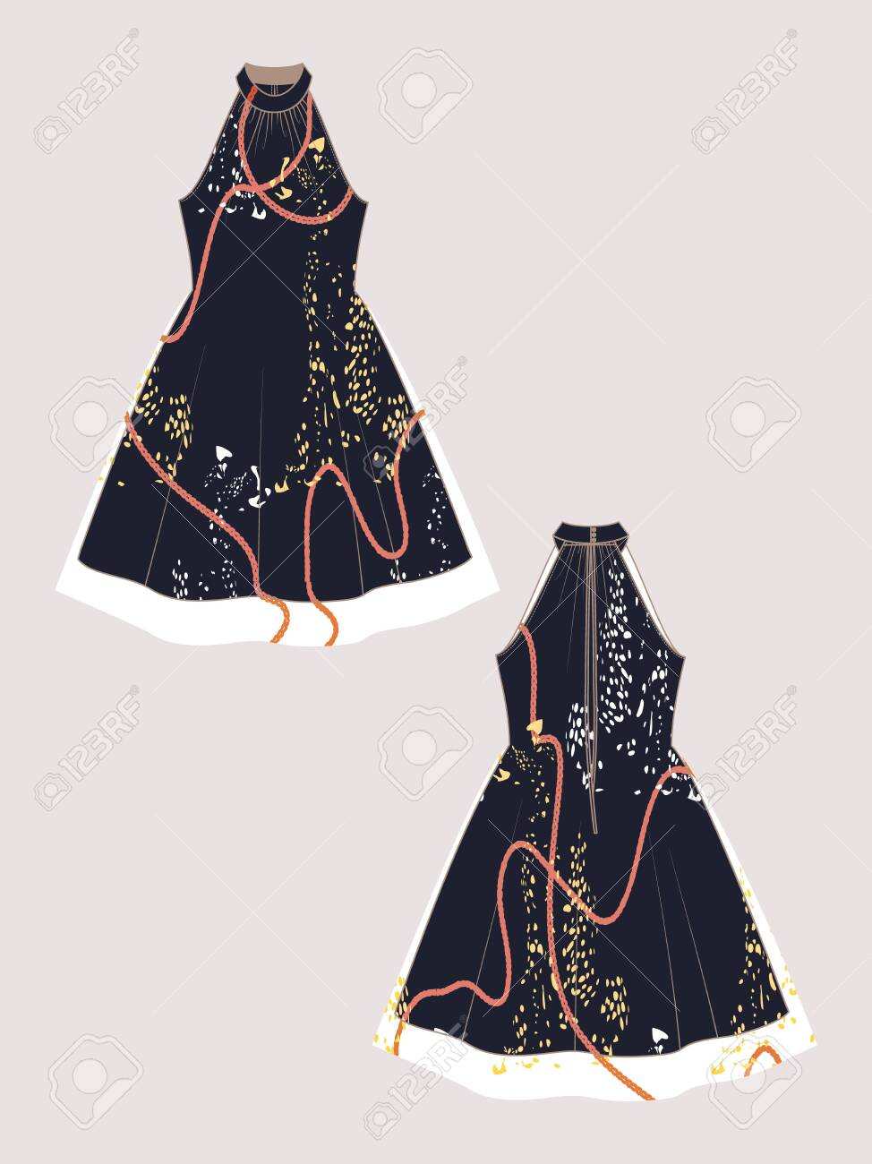 Editable Vector Dress Mockup Fashion Design Template For Showcasing Royalty Free Cliparts Vectors And Stock Illustration Image 123855773