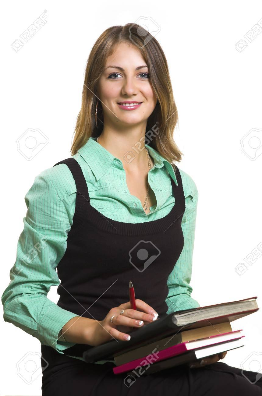 The girl with books on a white background Stock Photo - 1574783