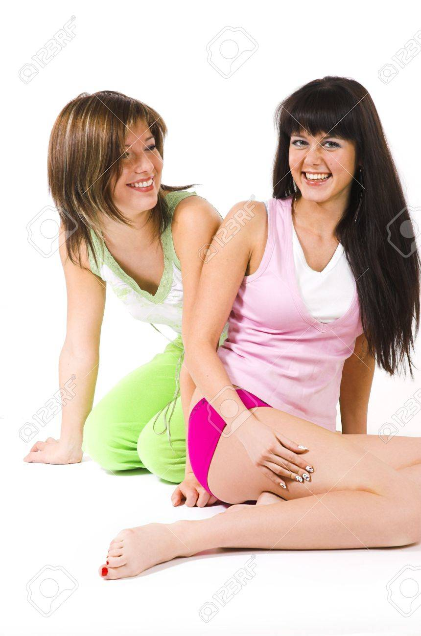 Two Girls In Underwear On A White Background Stock Photo, Picture ...