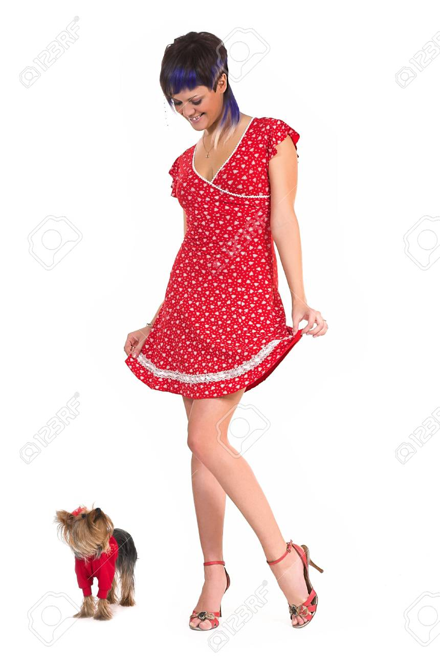 The beautiful girl and small dog Stock Photo - 2878758