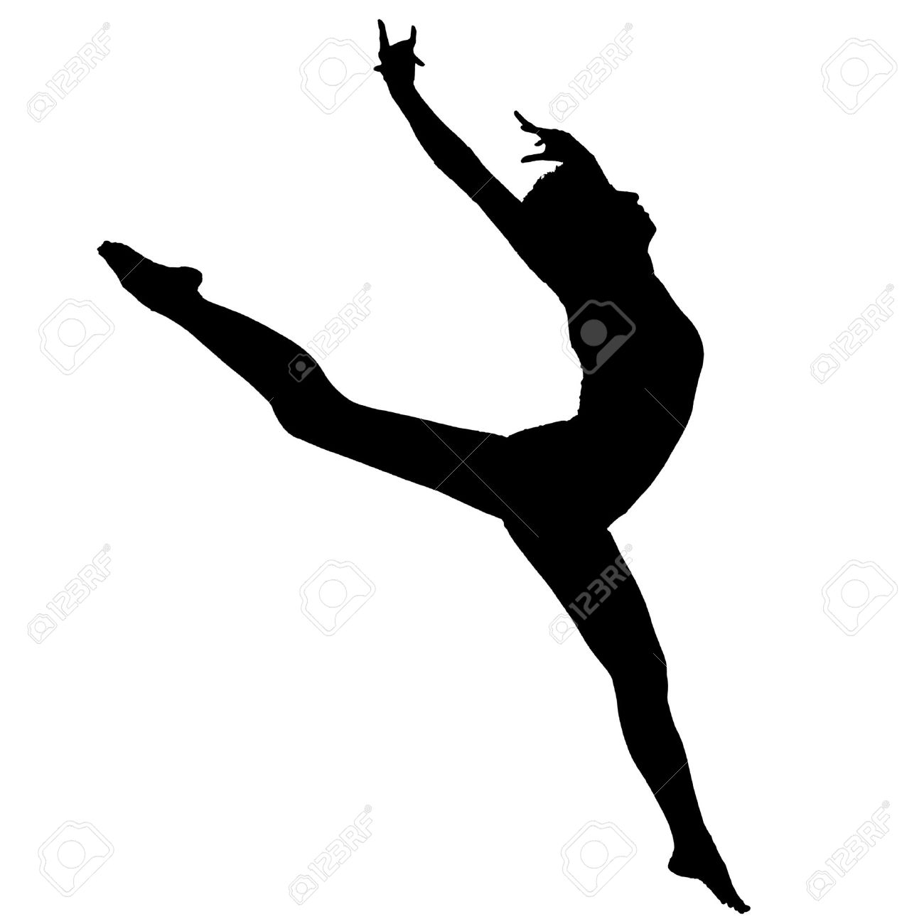 Black silhouette the ballerina on a white background Stock Photo - 11776682