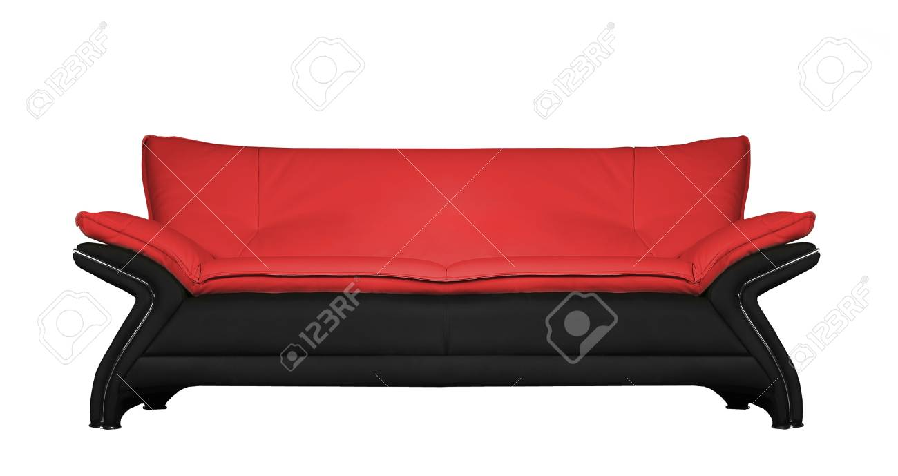 Modern Black And Red Leather Sofa Isolated Stock Photo   13657399