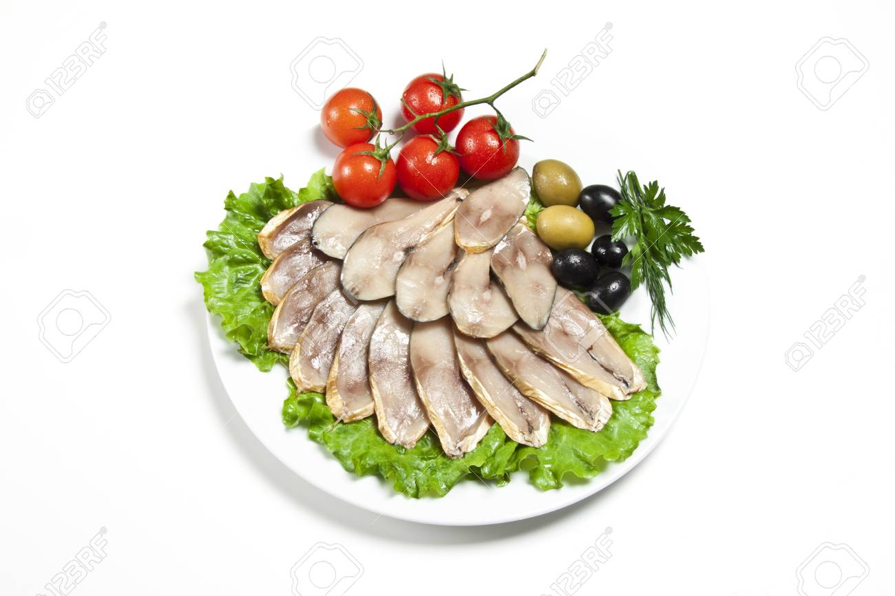 slices smoked fish and vegetables Stock Photo - 14060653