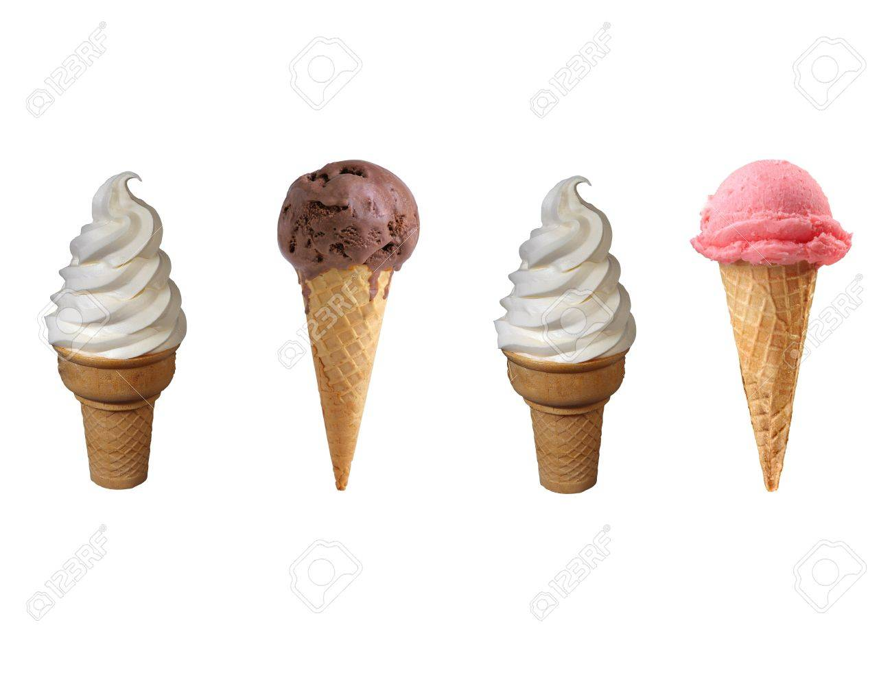 Assorted ice cream in sugar cones isolated on white background Stock Photo - 14093230