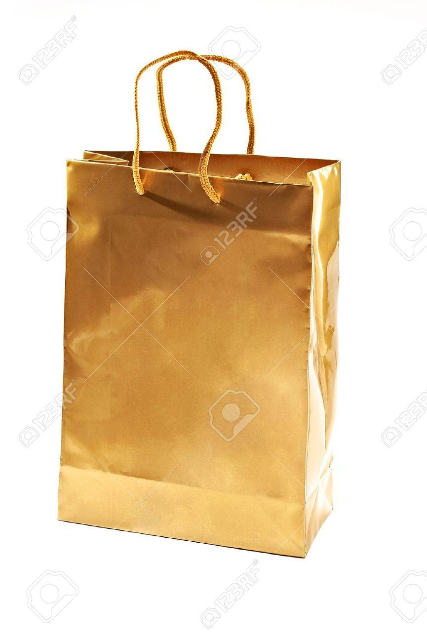 Gold Shopping Bag Close Up Shot On White Stock Photo, Picture And ...