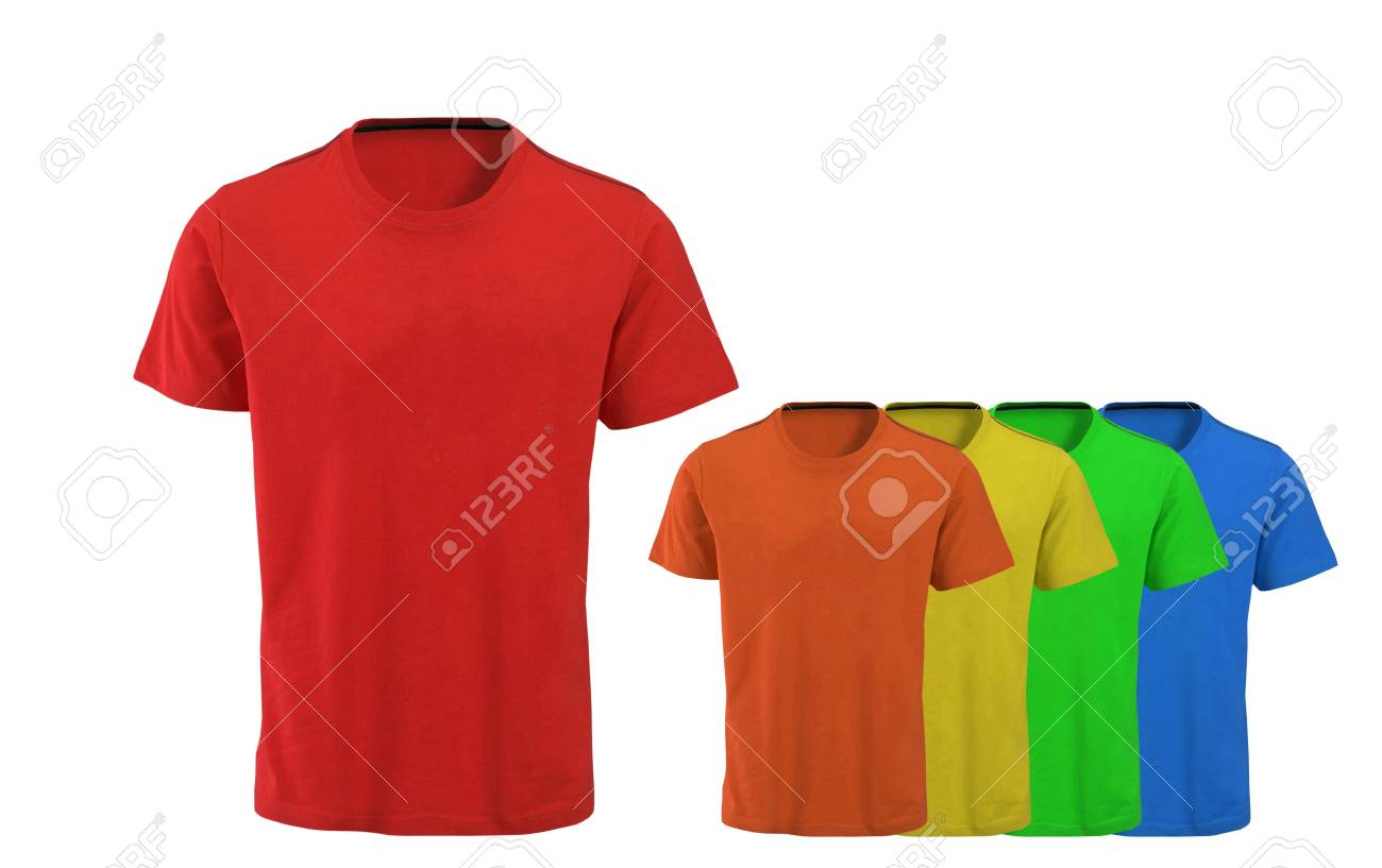 Color t-shirts on white background Stock Photo - 17908839