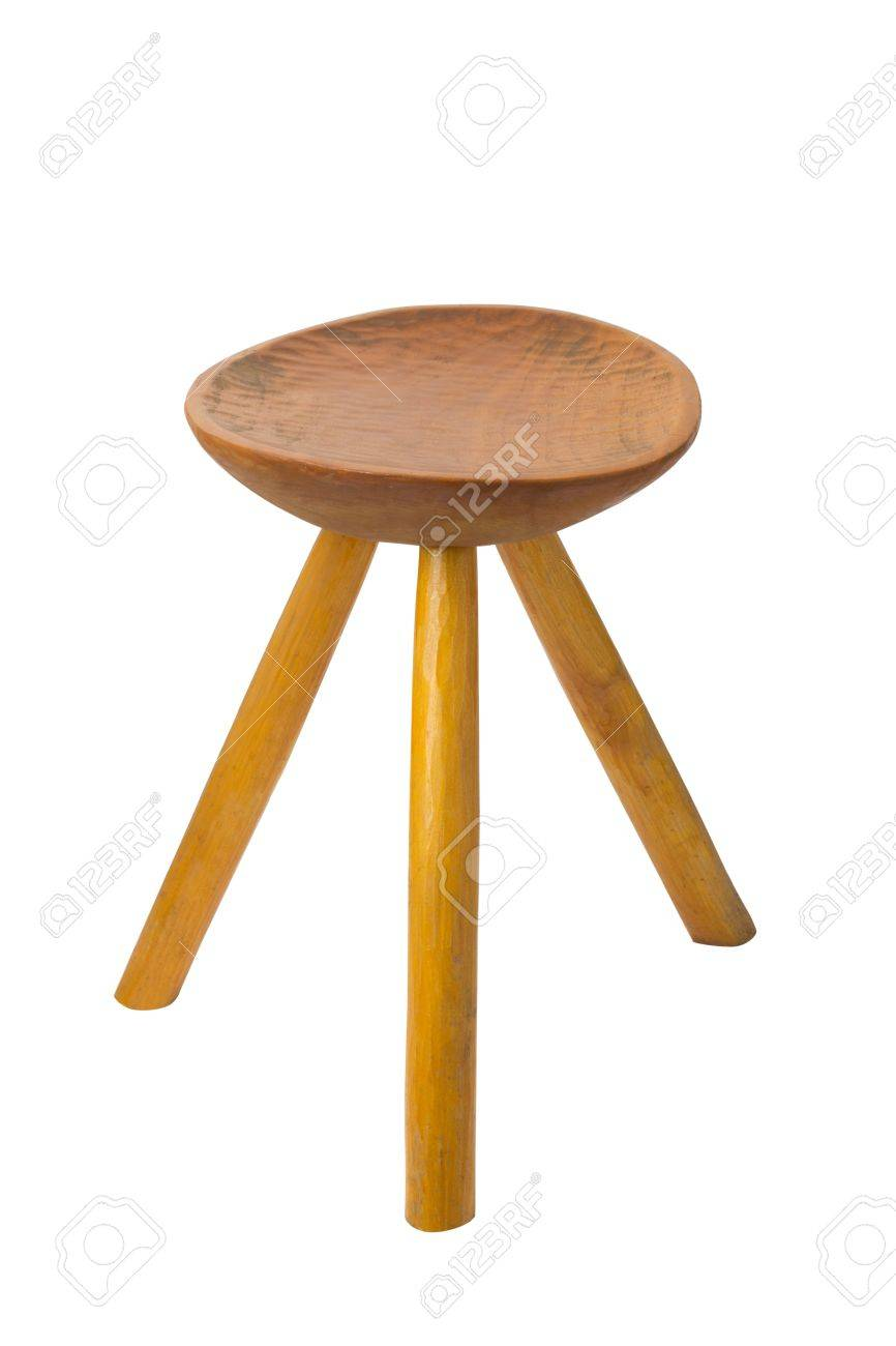 Astounding Round Top Maka Wood Stool Isolated On White Background Pabps2019 Chair Design Images Pabps2019Com