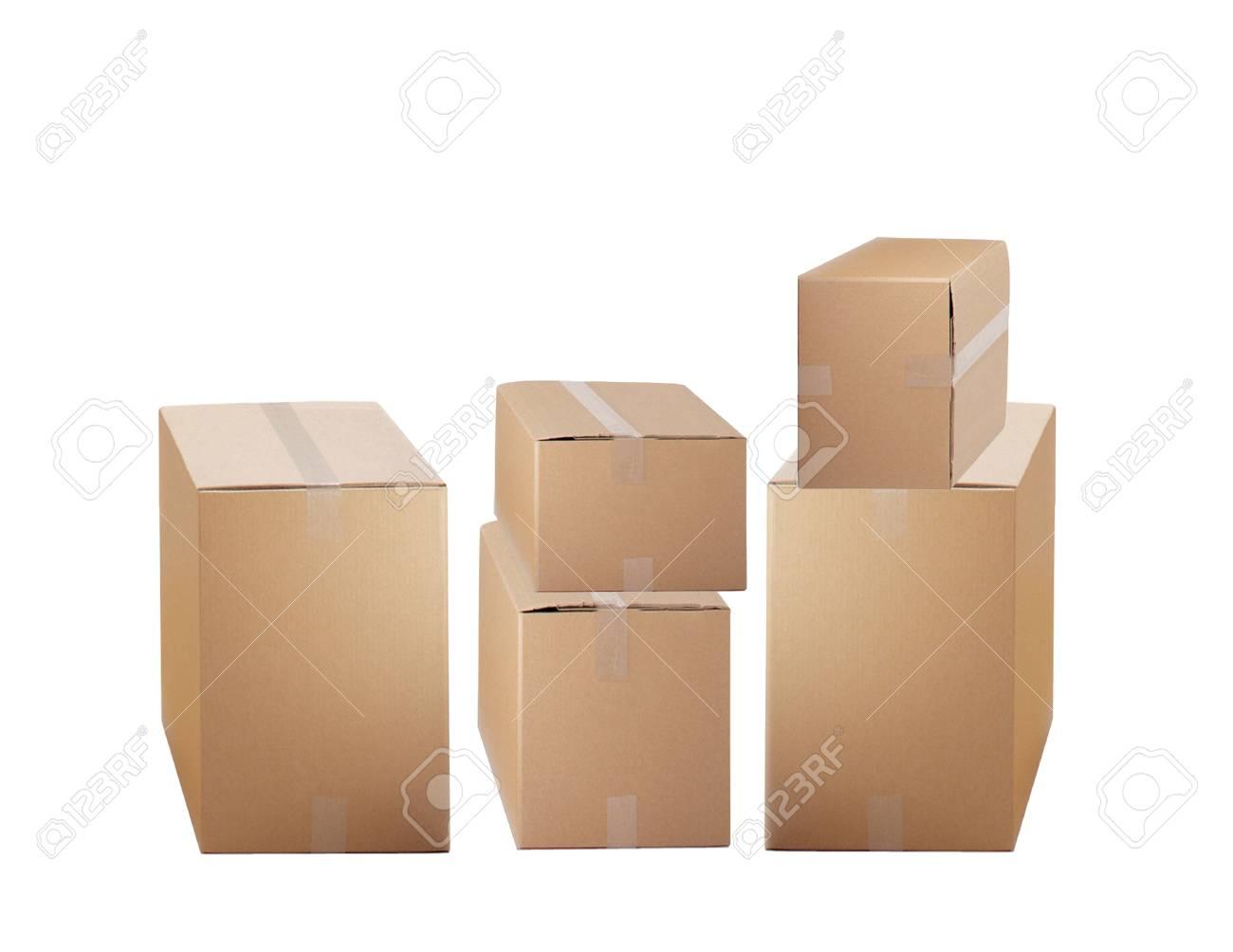 cardboard boxes isolated on white background Stock Photo - 21967463