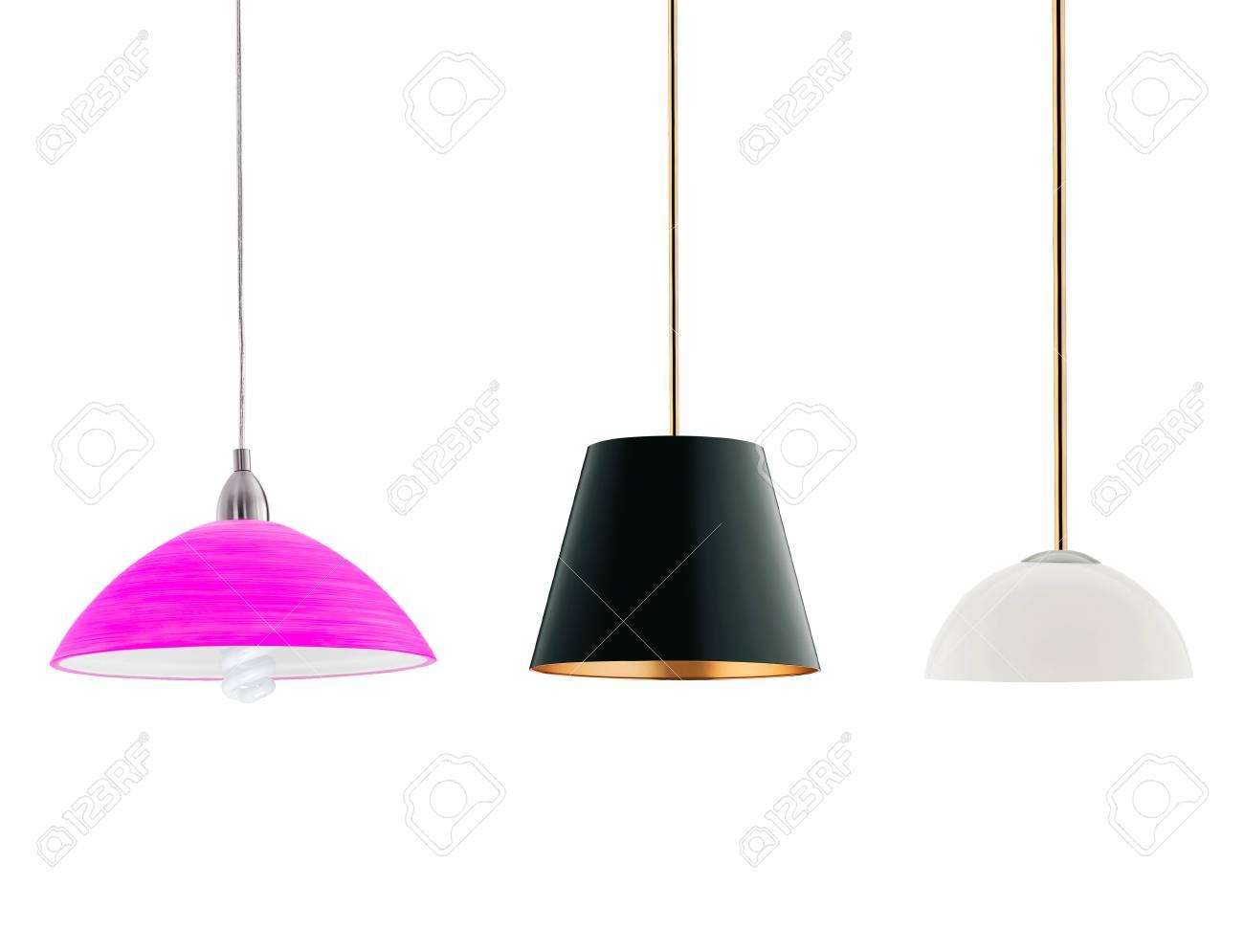 Diverse grote staande lampen op wit wordt geïsoleerd royalty vrije