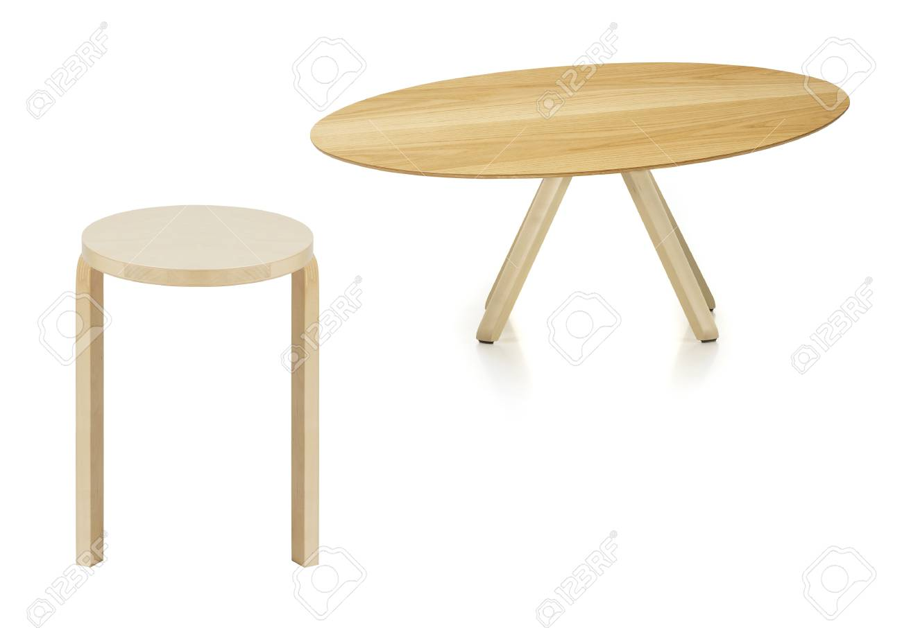 Superb Wooden Round Table And Stool Isolated On White Pabps2019 Chair Design Images Pabps2019Com