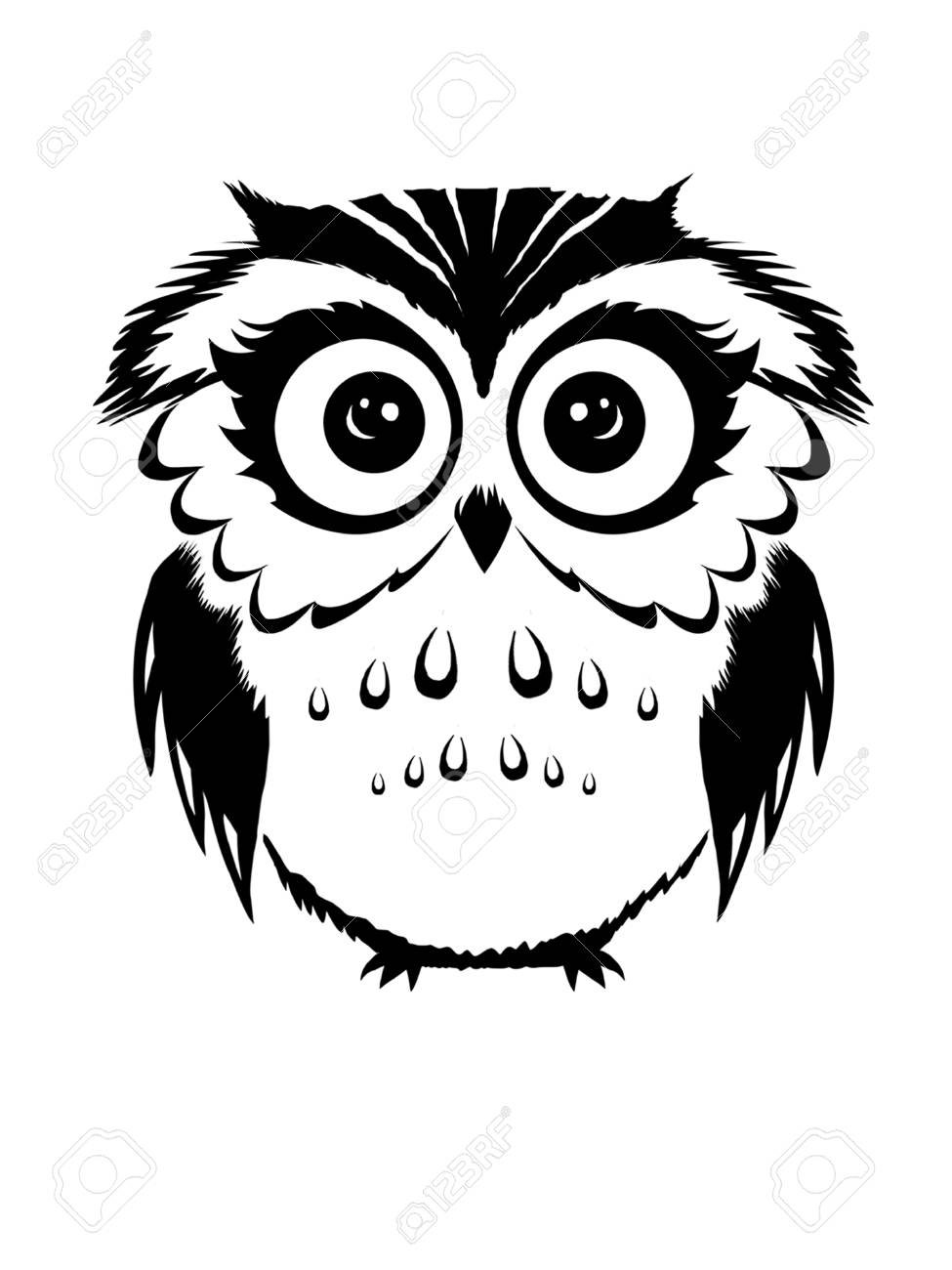 Cute owl black and white