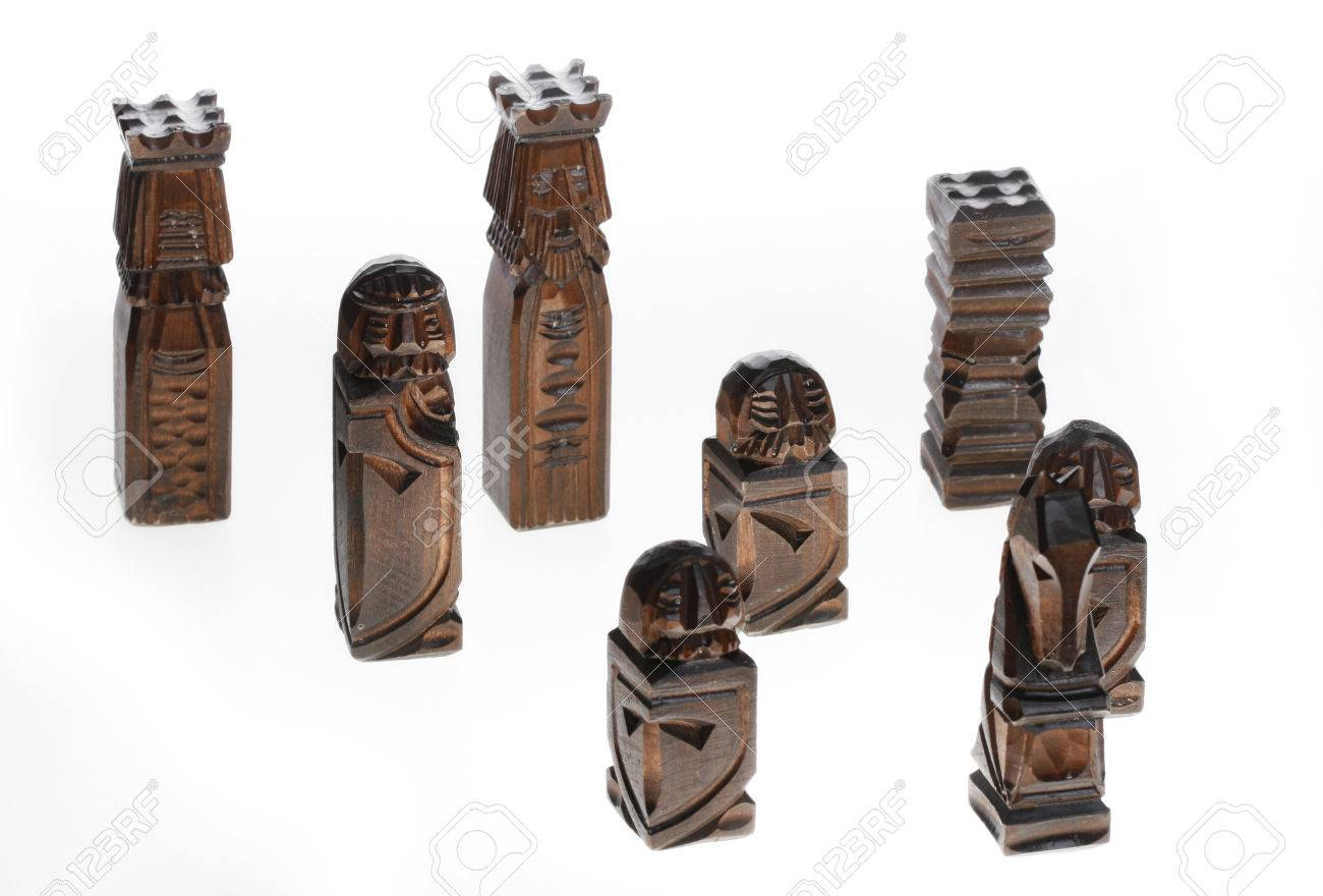 wooden carved chess pieces Stock Photo - 1518710