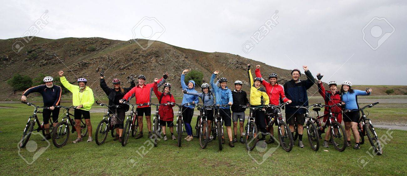 Mountain Biking Adventure in the Mongolian Mountains Stock Photo - 4329524