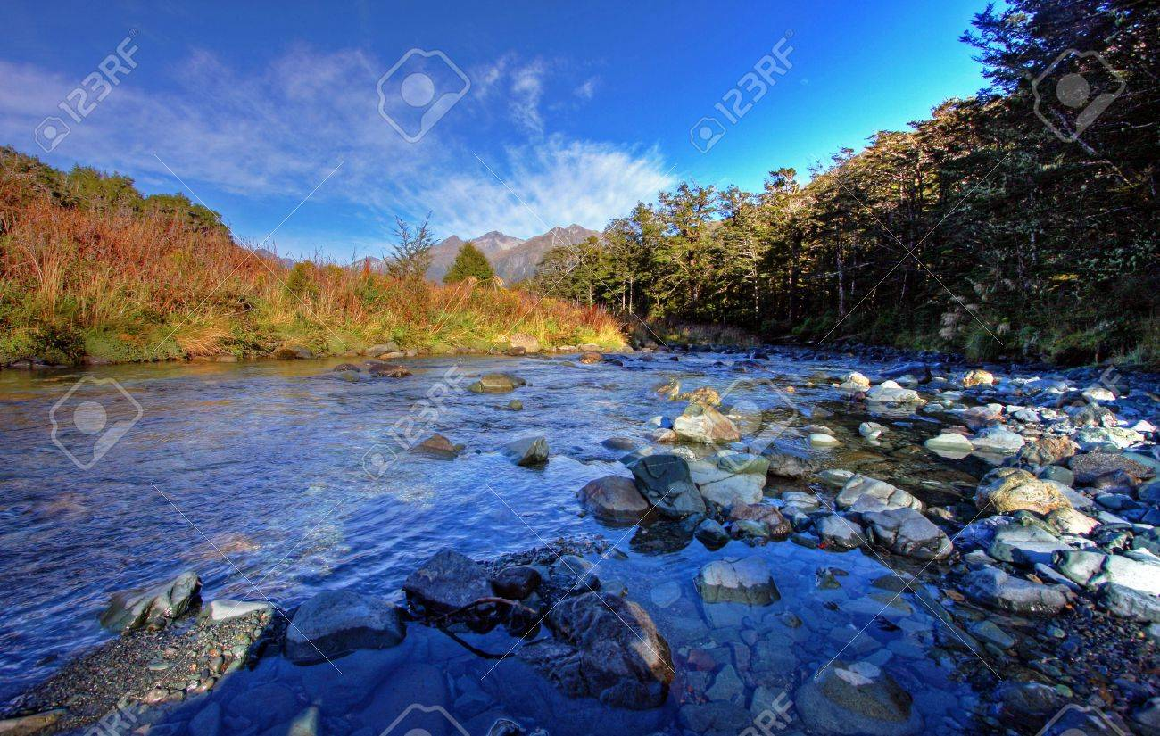 Spectacular mountain and river scenery in New Zealand Stock Photo - 4863483