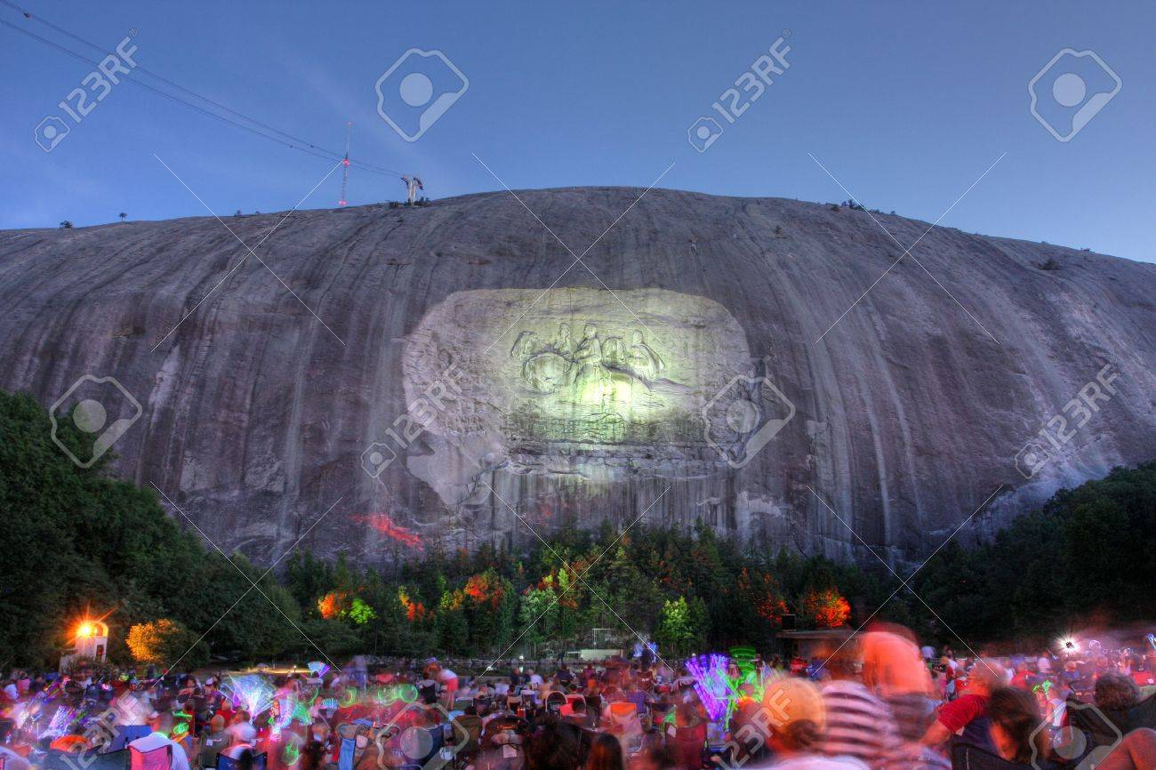Fireworks At Stone Mountain In Atlanta Stock Photo Picture And