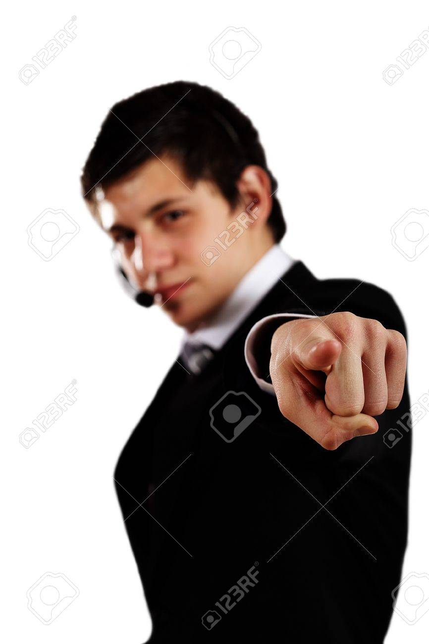 corporate young man pointing finger ahead Stock Photo - 7920404