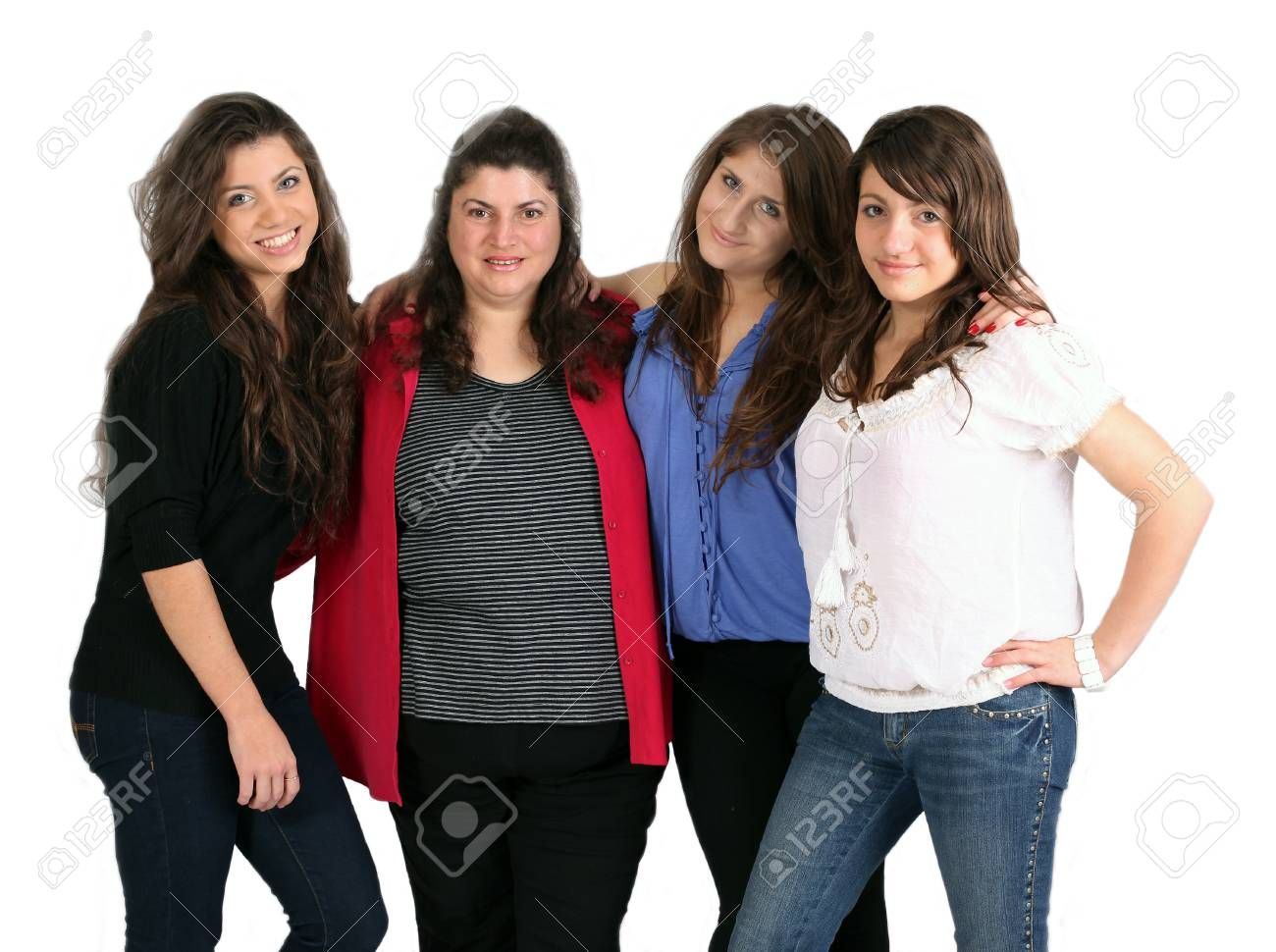 three happy sisters against white background Stock Photo - 9852283