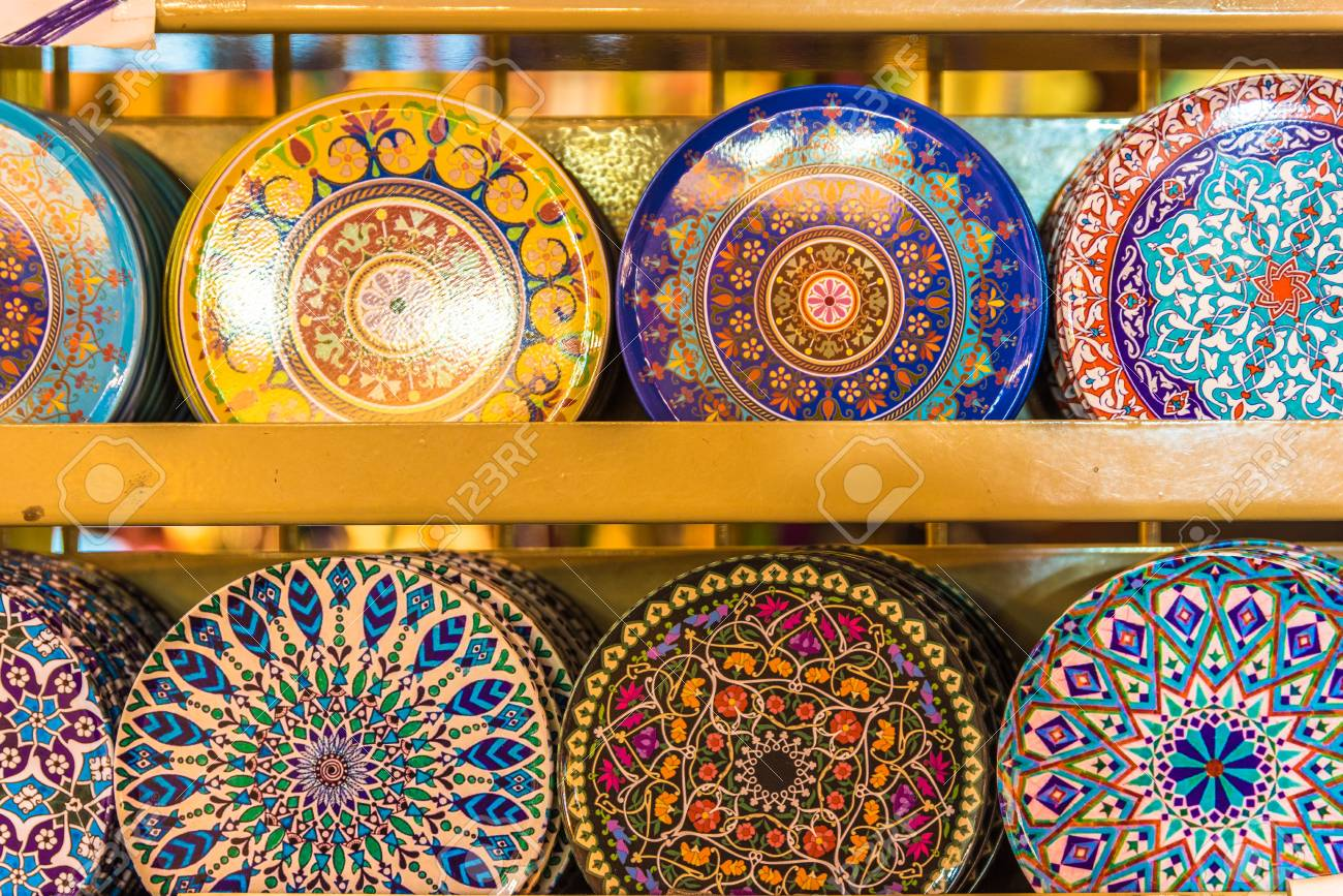 Collection of Traditional Turkish ceramic plates on sale at Grand Bazaar in Istanbul Turkey.  sc 1 st  123RF.com & Collection Of Traditional Turkish Ceramic Plates On Sale At Grand ...