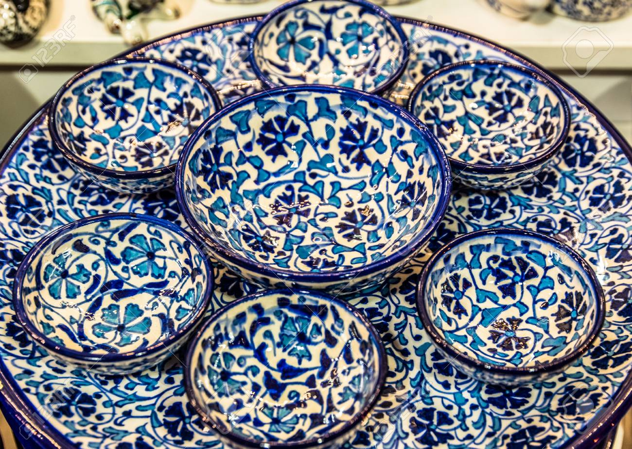 Collection of Traditional Turkish ceramic bowls and plates with painted landmarks on sale at Grand Bazaar & Collection Of Traditional Turkish Ceramic Bowls And Plates With ...