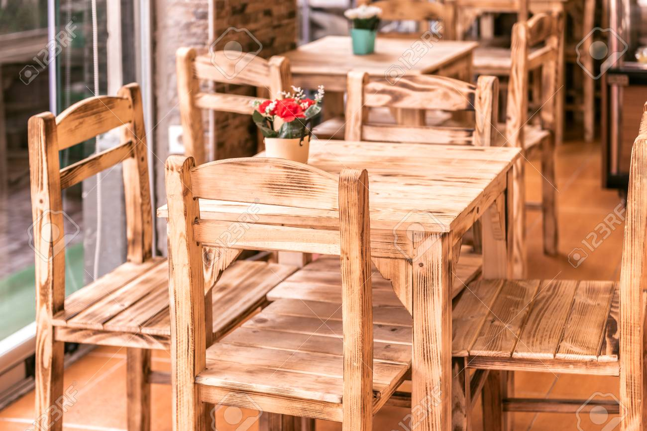 Retro Vintage View Of Pastel Coffee Shop With Wooden Tables Stock Photo Picture And Royalty Free Image Image 91906459