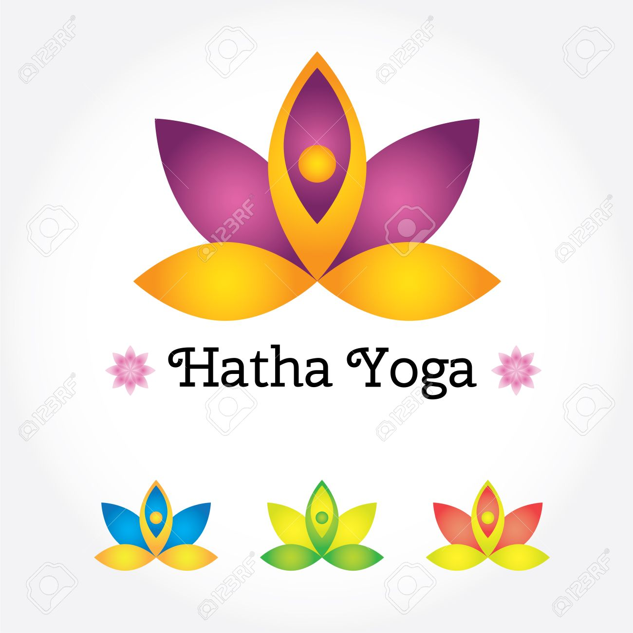Hatha Yoga Sign Lotus Flower In Different Colors With Human Silhouette Modern Vector Illustration