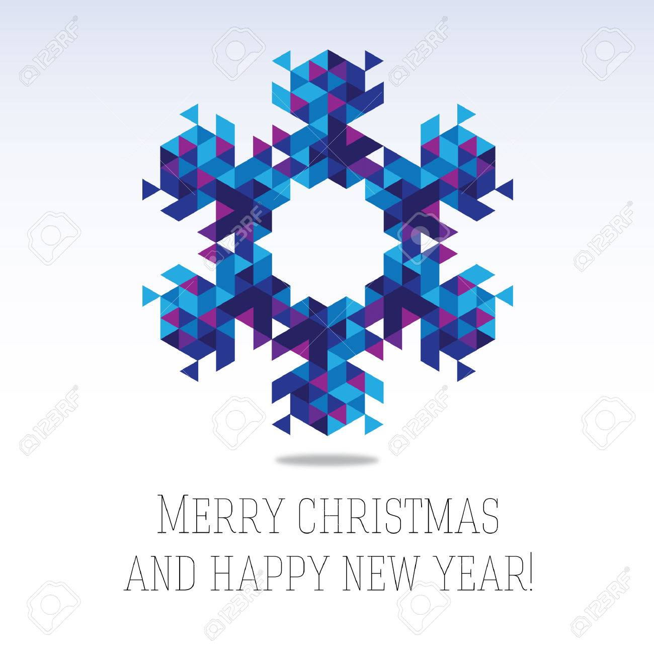 business greeting christmas and new year card abstract triangle snowflake stock vector 32135514